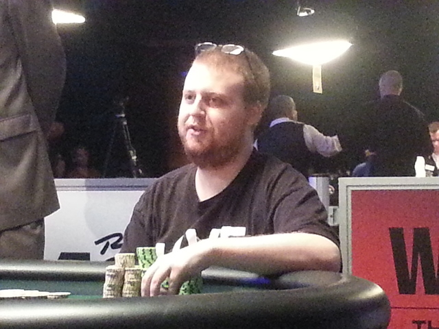 "Joseph McKeehen of North Wales, Pa., shown during last year's ""Monster Stack"" event final table, is currently second in chips in the World Series of Poker's $10,000 buy-in No-limit Texas Hold 'e ..."