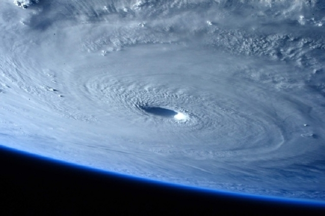 Typhoon Maysak is seen as it strengthens into a Category 5 hurricane in this picture taken by ESA Astronaut Samantha Cristoforetti aboard the International Space Station, March 31, 2015. (Reuters/ ...
