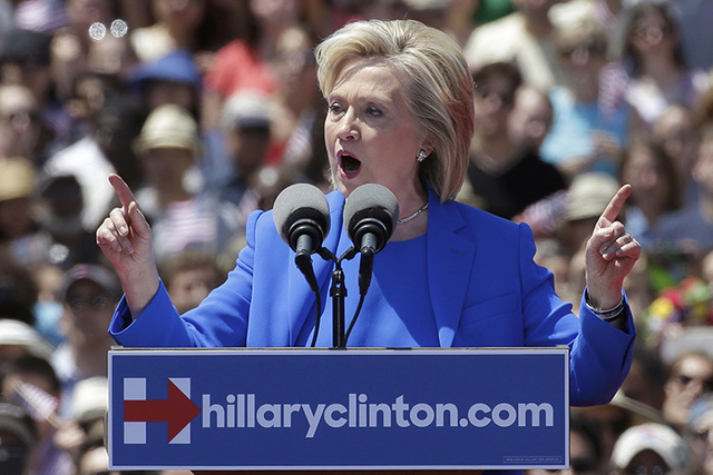 """Democratic presidential candidate Hillary Clinton delivers her """"official launch speech"""" at a campaign kick off rally in Franklin D. Roosevelt Four Freedoms Park on Roosevelt Island in New York Cit ..."""