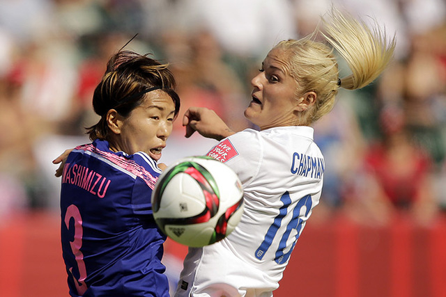 Jul 1, 2015; Edmonton, Alberta, CAN; Japan defender Azusa Iwashimizu (3) and England midfielder  Katie Chapman (16) go for a head ball during the first half in the semifinals of the FIFA 2015 Wome ...