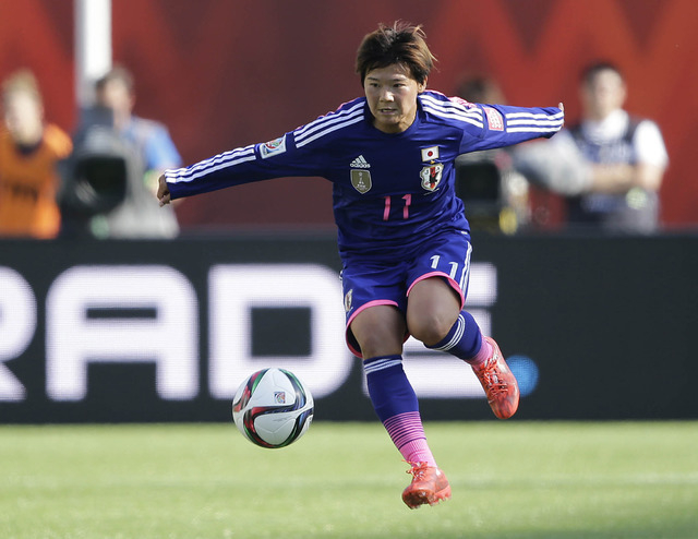 Jul 1, 2015; Edmonton, Alberta, CAN; Japan forward Shinobu Ohno (11) controls the ball during the second half against the England in the semifinals of the FIFA 2015 Women's World Cup at Commonweal ...