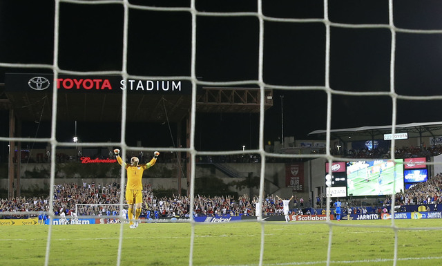 Jul 7, 2015; Dallas, TX, USA; the United States goalkeeper Brad Guzan (1) reacts during the match against Honduras during the 2015 Gold Cup soccer match at Toyota Stadium. Mandatory Credit: Kevin  ...
