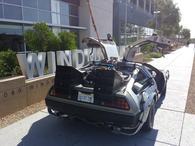 """Southwest Las Vegas resident Paul Casey plans to bring an NBC Universal DeLorean time machine car and a replica of Doc Emmet Brown's van for """"Back to the Future"""" fan photos from 10 a.m. to 6 ..."""