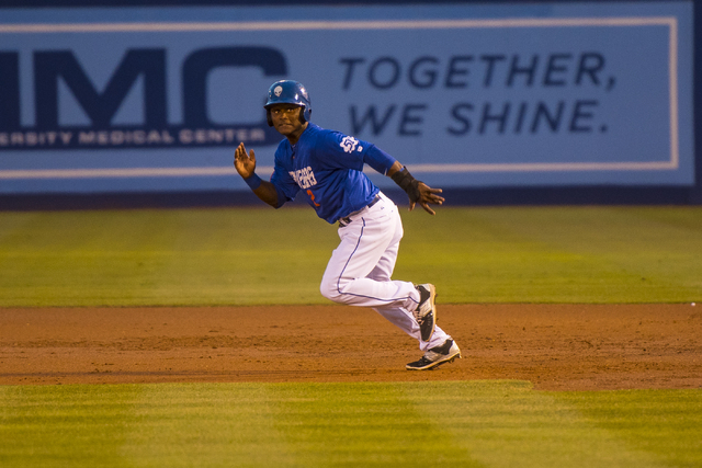 Dilson Herrera, 2, of the Las Vegas 51's, sprints to second base during baseball action against the Albuquerque Isotopes at Cashman Field in Las Vegas on Sunday, July 5, 2015. (Joshua Dahl/Las Veg ...