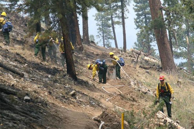 """Lightening strikes spark 4 small fires @ #MtCharleston today -- 2-yr anniversary."" Courtesy (@ClarkCountyNevada/Twitter)"