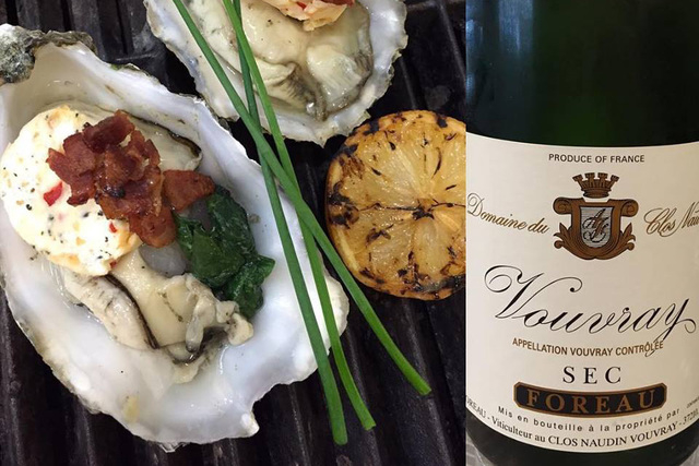 """These are some huge Case Inlet, Washington oysters we are grilling with spinach, Neuske bacon & Piquillo pepper butter this weekend! Pair them with Foreau Vouvray SEC for an amazing experience!""  ..."