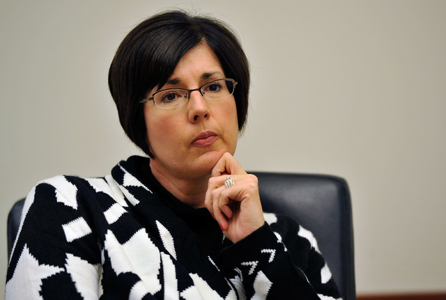 Lisa Ruiz-Lee, director of Clark County's Department of Family Services speaks with the Las Vegas Review-Journal editorial board at the Review-Journal offices in Las Vegas on Thursday, Feb. 19, 20 ...