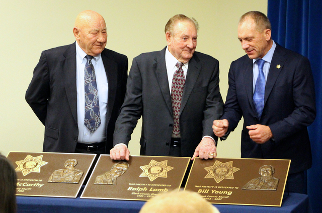 From left, former Metropolitan Police Department Sheriffs John McCarthy, Ralph Lamb and Bill Young attend a Dec. 3 ceremony to rename three buildings for them at Metro's headquarters, 400 S. Mar ...