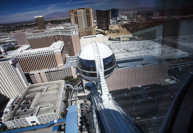 The view of the Las Vegas Strip from the High Roller at The Linq as seen Monday, March 31, 2014. The world's tallest observation wheel opened to the public today.(Jeff Scheid/Las Vegas Review-Journal)