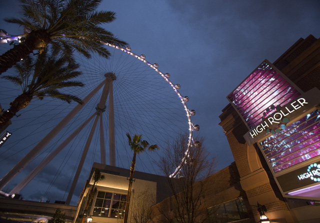 The Las Vegas High Roller as seen Friday, Feb. 28, 2014 during the inaugural lighting.(Jeff Scheid/Las Vegas Review-Journal)