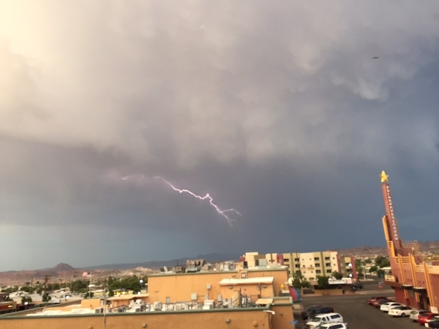 Lightning seen from the Eldorado Casino in Henderson. (Kristen DeSilva/Las Vegas Review-Journal)