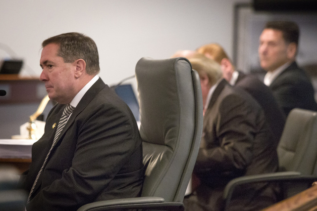 Former Clark County District Attorney David Roger,left, testifies during a Nevada Commission on Judicial Discipline hearing  for suspended Family Court Judge Steven Jones Monday Dec. 2, 2013 at La ...
