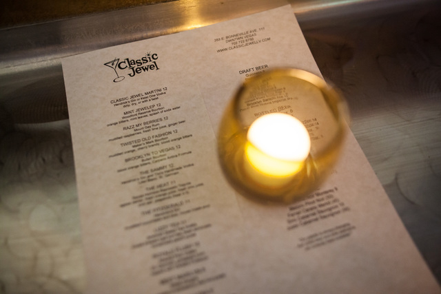 The menu is seen at Classic Jewel, a lounge with a retro Las Vegas theme, at Juhl, 353 E. Bonneville Ave., in downtown Las Vegas on Tuesday, June 30, 2015. The lounge is one of multiple business o ...