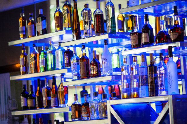 Bottles are seen on a rack at Classic Jewel, a lounge with a retro Las Vegas theme, at Juhl, 353 E. Bonneville Ave., in downtown Las Vegas on Tuesday, June 30, 2015. The lounge is one of multiple  ...