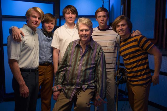 """From left to right: Graham Rogers, Brett Davern, Paul Dano, Brian Wilson, Jake Abel, Kenny Wormald on the set of """"Love & Mercy."""" (Courtesy, Francois Duhamel)"""