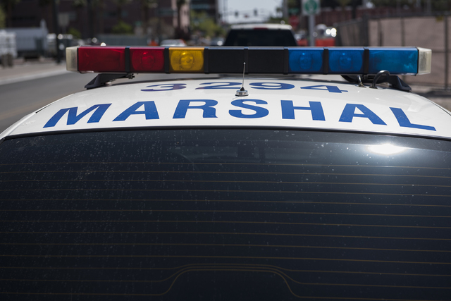 A Las Vegas Marshal patrol vehicle sits parked outside Las Vegas City Hall on Thursday Apr. 2, 2015. (Martin S. Fuentes/Las Vegas Review-Journal)