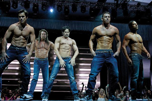 "From left, Matt Bomer, Kevin Nash, Joe Manganiello, Channing tatum and Adam Rodriguez star in ""Magic Mike XXL."" (Courtesy Warner Bros. Pictures)"