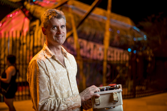 Merritt Pelkey, who operates the fire-shooting preying mantis that sits out front of Container Park in downtown Las Vegas, poses for a photo on Wednesday, July 1, 2015. (Joshua Dahl/Las Vegas Revi ...