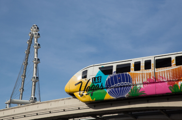The Las Vegas Monorail rides past the High Roller observation wheel Thursday, April 17, 2014. (Samantha Clemens/Las Vegas Review-Journal)