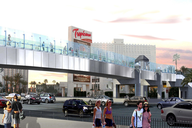 An artist's rendering shows one of the revamped pedestrian bridges planned at the corner of Las Vegas Boulevard and Tropicana Avenue in a $26 million project that will begin next year. (Courtesy/N ...