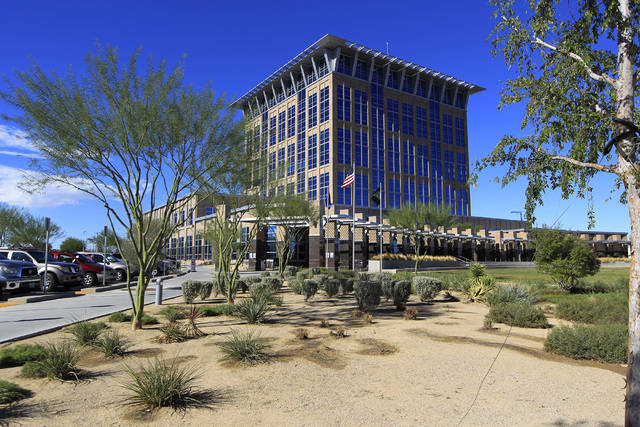 The North Las Vegas City Hall is seen during the opening of the new North Las Vegas library located in the building Wednesday, Oct. 8, 2014. (Sam Morris/Las Vegas Review-Journal)