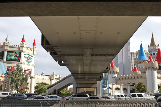 The underside of a bridge over Tropicana Avenue is seen on Wednesday, July 1, 2015, in North Las Vegas. The four pedestrian bridges at the corner of Las Vegas Boulevard and Tropicana Avenue. (Jame ...