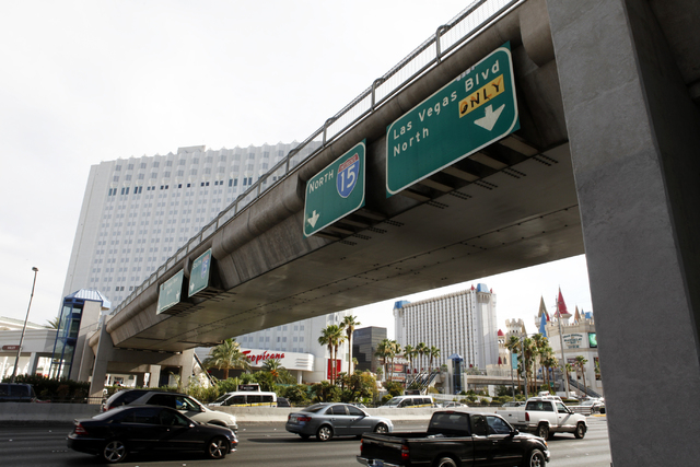 A bridge over Tropicana Avenue is seen on Wednesday, July 1, 2015, in North Las Vegas. The four pedestrian bridges at the corner of Las Vegas Boulevard and Tropicana Avenue. (James Tensuan/Las Veg ...