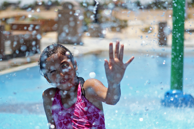 Izebelh Pin-Torres plays at the Charlie Frias Park on Wednesday, July 1, 2015, in North Las Vegas. This past June was the hottest on record. (James Tensuan/Las Vegas-Review Journal) Follow James T ...