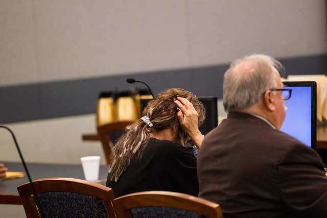 Former Clark County School District official Priscilla Rocha is seen before being sentenced four to 10 years in prison for stealing tens of thousands of dollars from the district, at the Regional  ...