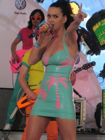 """Katy Perry sings at the unveiling of the new 2011 Volkswagon Jetta in Times Square, NYC. She performed """"I Kissed A Girl"""", """"Hot N' Cold"""" and """"California Gurls"""". (CNN)"""