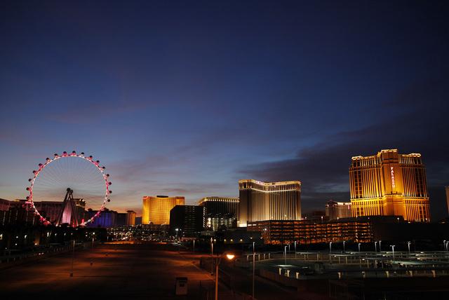 The High Roller is light up at dusk along The Strip in Las Vegas Friday, Feb. 14, 2014. (John Locher/Las Vegas Review-Journal)