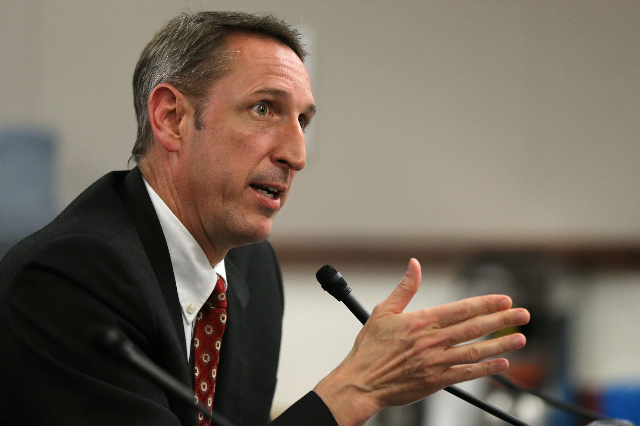 Nevada Sen. Scott Hammond, R-Las Vegas, urges lawmakers to support a bill that would allow parents to get a portion of the state funding that the public school would get and put it toward an educa ...