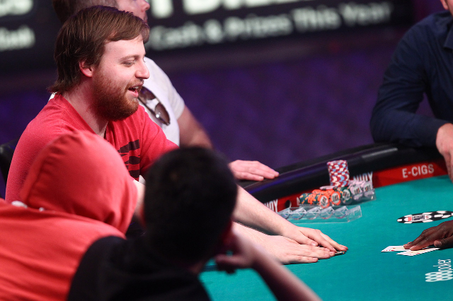 oseph McKeehen pulls in his chips after winning a pot with a pair of twos during day 7 of the World Series of Poker Main Event at the Rio hotel-casino in Las Vegas on Tuesday, July 14, 2015. Playe ...