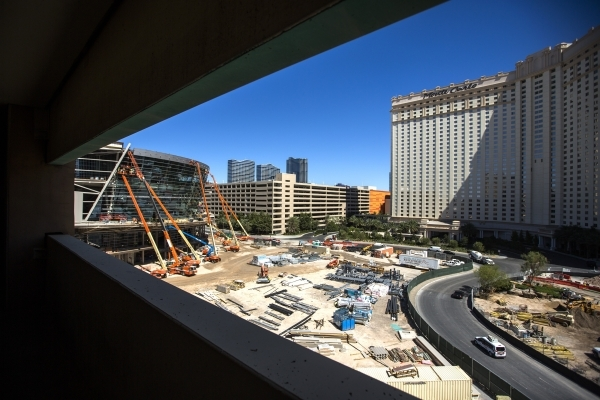 Construction of the arena behind Monte Carlo and New York-New York continues July 23. JEFF SCHEID/LAS VEGAS REVIEW-JOURNAL FOLLOW HIM