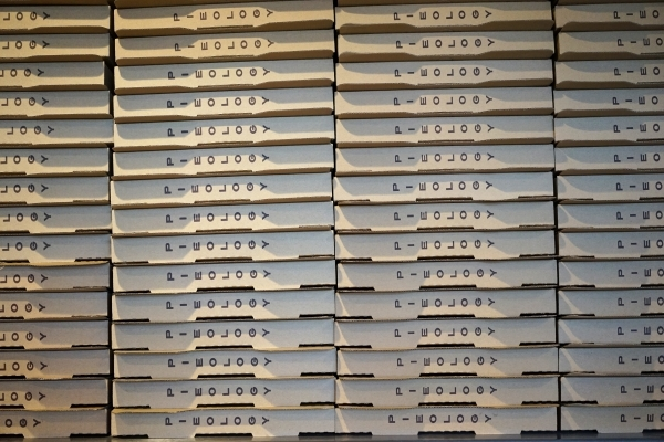 Boxes for pizza are seen at Pieology in Las Vegas. (James Tensuan/Las Vegas Review-Journal) Follow James Tensuan on twitter