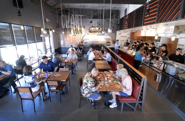 The interior of Blaze Pizza in Henderson. (Bill Hughes/Las Vegas Review-Journal)
