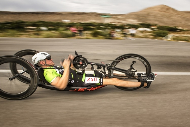 Handcyclist Chris Sprouls during the Nevada Police Athletic Federation bicycle race, Thursday, July 30, 2015, on State Route 159 near Blue Diamond.  Sprouls is trying to earn a spot on the U.S. te ...