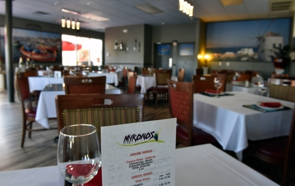 A general view of the dining room at  Mykonos Greek Cuisine is seen in Sun City Summerlin. (David Becker/View)