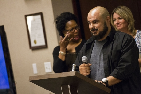 Nicholas Sanchez of the felony DUI court program speaks during a graduation ceremony for participants of specialty court programs at the Regional Justice Center in Las Vegas on Friday, July 24, 20 ...