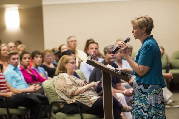 Judge Linda Marie Bell speaks during a graduation ceremony for participants of specialty court programs at the Regional Justice Center in Las Vegas on Friday, July 24, 2015. (Chase Stevens/Las Veg ...