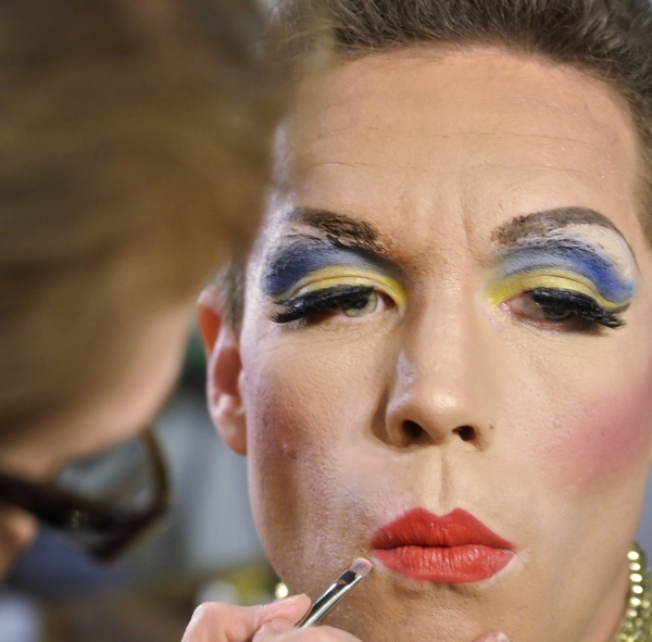 "Cory Benway has his makeup done backstage by makeup artist Alda Tomasic before taking the stage in ""Hedwig and the Angry Inch,"" which opens Thursday at the Onyx Theatre. (Bill Hughes/Las ..."