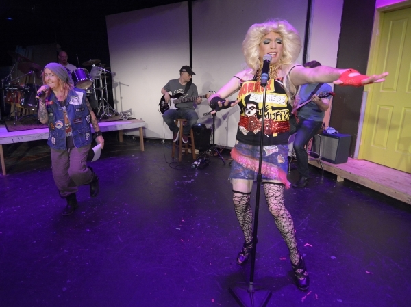 "Yitzhak (Jamie Riviere), left, and Hedwig (Cory Benway) rock out to ""Tear Me Down"" in ""Hedwig and the Angry Inch."" The award-winning musical opens Thursday at the Onyx Theatre. ..."