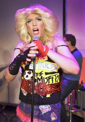 "Hedwig (Cory Benway) takes the stage, tracing a life-changing odyssey in the rock musical ""Hedwig and the Angry Inch,"" which kicks off the Onyx Theatre's 10th season Thursday. (Bil ..."