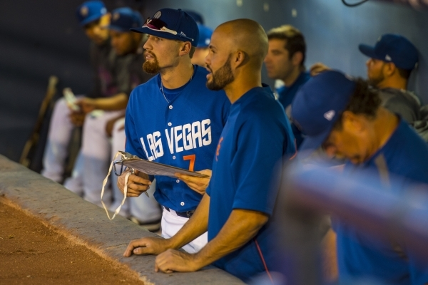 Brandon Nimmo, left, the No. 13 overall pick in the 2011 Major League Baseball draft, talks with Cory Vaughn as the Las Vegas 51s take on the Tacoma Rainers on Saturday at Cashman Field. The 51s w ...