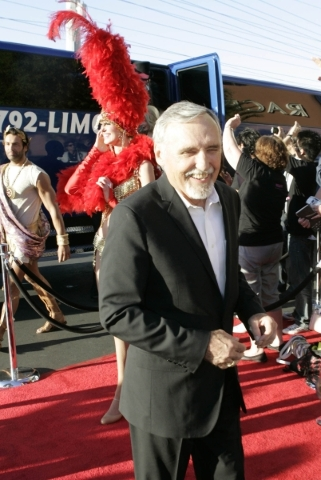 "Actor Dennis Hopper, chairman of the CineVegas creative advisory board, arrives on opening night of the 2008 CineVegas film festival for the screening of ""The Rocker"" at the Palms. (Las  ..."
