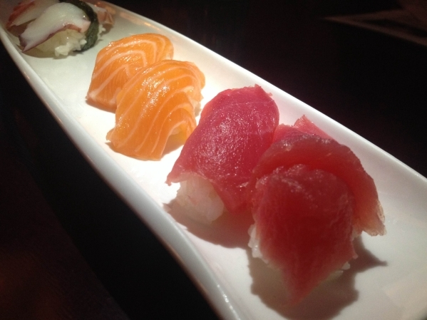 A sushi dish served with octopus, from left, salmon and tuna is seen at Krazy Sushi in Centennial Hills July 27. (Sandy Lopez/View)