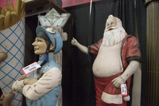 Statues up for auction are shown at Morphy Auctions, 4520 Arville St., in Las Vegas, Saturday, August 1, 2015. Morphy's Auctions is auctioning of more than 1,600 props, apparel and antiques  ...
