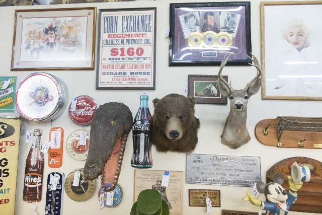Items up for auction are shown at Morphy Auctions, 4520 Arville St., in Las Vegas, Saturday, August 1, 2015. Morphy's Auctions is auctioning of more than 1,600 props, apparel and antiques fr ...