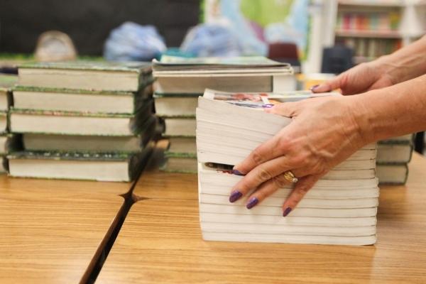 Vivian Cushman organizes books in her third-grade classroom at Piggott Elementary School, 9601 Red Hills Road, Aug.  3. (James Tensuan/View) (Follow