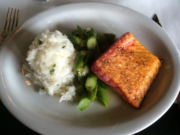 Tie-Dye Salmon, with organic salmon, calrose rice, pine nuts and asparagus vinaigrette, is $21.70 at Echo & Rig. (Jan Hogan/View)